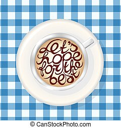 Cup of Coffee. Mockup Template with Lettering Element