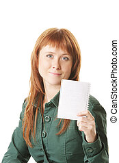 Redhead showing notepad - Young redhead woman showing blank...