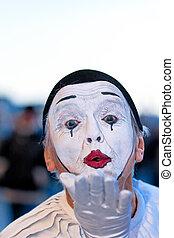 clown, divertir, foules, rue, festival, venise, Italie