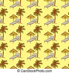 Sketch palm and deck chair in vintage style, vector seamless...
