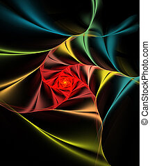 Illustration, fond, fractal, coloré, spirale, satin,...