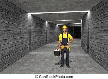 construction worker in concrete tunnel background - fine...
