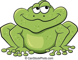 green cartoon frog isolated on white - vector illustration...