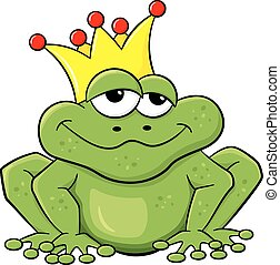 frog prince waiting to be kissed - vector illustration of a...