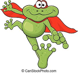frog hero jumps with cape - vector illustration of a frog...