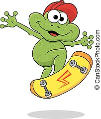 cartoon frog is jumping with a skateboard - vector...