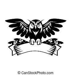 Wise Owl - Illustration of owl sitting on the banner