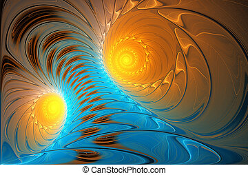 illustration background fractal bright blue tornado sunlit