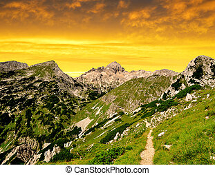 Julian Alps, Slovenia - Triglav National Park at sunset -...