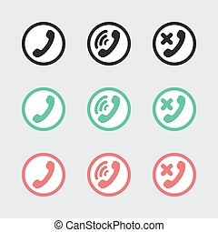 Set of vector icons telephony and communications