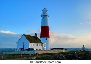 portland bill - Candy striped red and white lighthouse at...