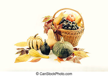 Autumn and Thanksgiving concept. Seasonal fruit and pumpkins...