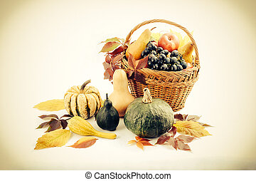 Autumn and Thanksgiving concept Seasonal fruit and pumpkins...