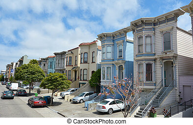 Row of Victorian Italianate houses in San Francisco,...