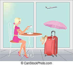 Girl at the airport in are going on vacations.