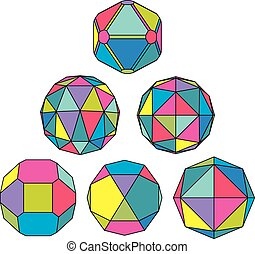 Collection of 6 complex dimensional spheres and abstract geometric figures with black outline. Colorful kaleidoscope facet. Fractal 3D symbolic globes.