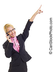 businesswoman with mobile phone winning