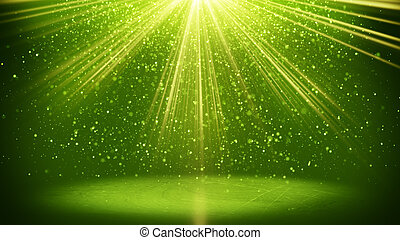 green light beams and particles abstarct background - green...