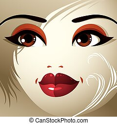 Parts of the face of a young beautiful lady with a bright...