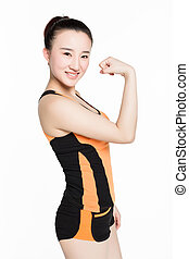 there biceps woman - facing the camera to show their fitness...