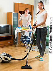 ?leaning the house - Young daughter with senior mother clean...