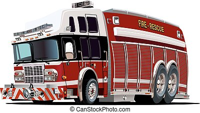 Vector Cartoon Fire Truck - Vector cartoon firetruck...