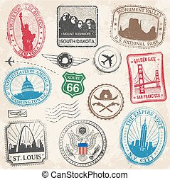 US Monuments Grunge Stamps - A High Detail collection of...