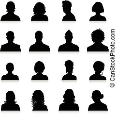 Avatars silhouettes - A collection of 16 high detail avatars...