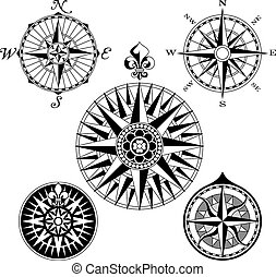 Compass Rose Set - A set of five high detail antique...