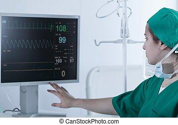 Surgeon looking at medical monitor