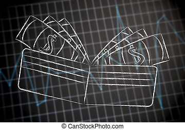 wallet with money on financial stats background
