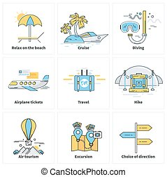 Traveling Vacation Journey Icons on White - Set of thin...