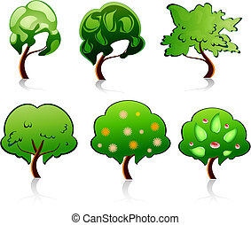 Tree symbols - Set of tree symbols for deign or ecology...