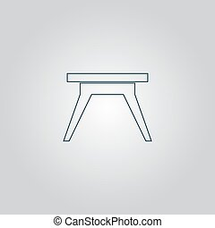 Small table icon, sign and button - Small table Flat web...