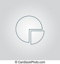 Pie chart Flat web icon, sign or button isolated on grey...