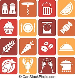 White Food Icons on colored backgrounds
