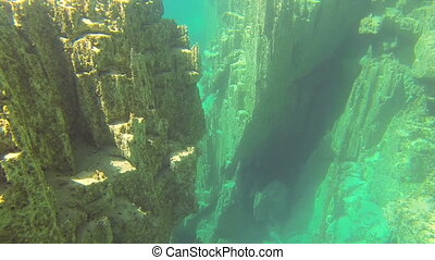 underwater rocks on the bottom of the lakes