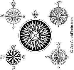 Vector Compass Rose Set - A set of five high detail antique...