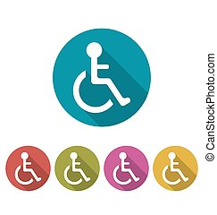Colorful Pictogram of Disabled in Wheelchai