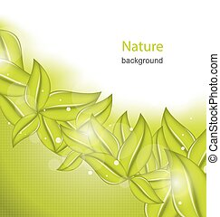 Nature Background with Eco Green Leaves