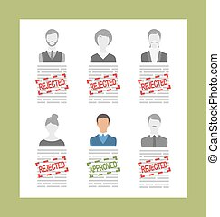 Human Resource and Resume, Flat Simple Icons - Illustration...