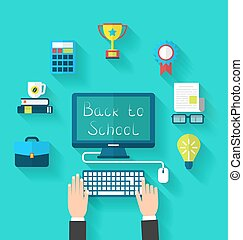 Flat Icons and Objects for High School - Illustration Flat...