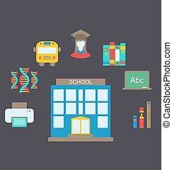 Flat Colorful Simple Icons - Illustration Flat Colorful...