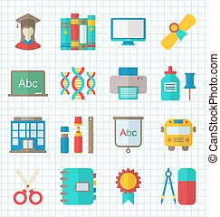 School Colorful Simple Icons - Illustration School Colorful...