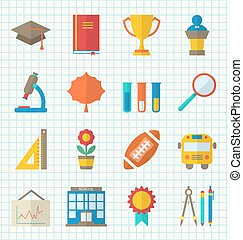 School Colorful Icons - Illustration School Colorful Icons,...