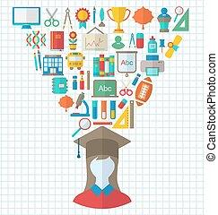 Set of Education Flat Colorful Icons - Illustration Set of...
