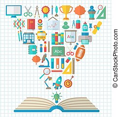 Flat Colorful Simple Icons and Textbook - Illustration Set...