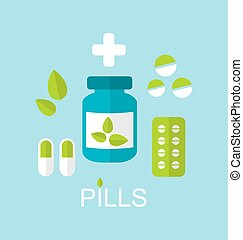 Tablets (Pills, Capsules, Drugs) and Leaves - Illustration...