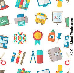 Seamless Pattern with School Icon - Illustration Seamless...