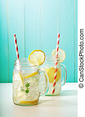 Lemonade in mason jars - Homemade lemonade in mason jars...